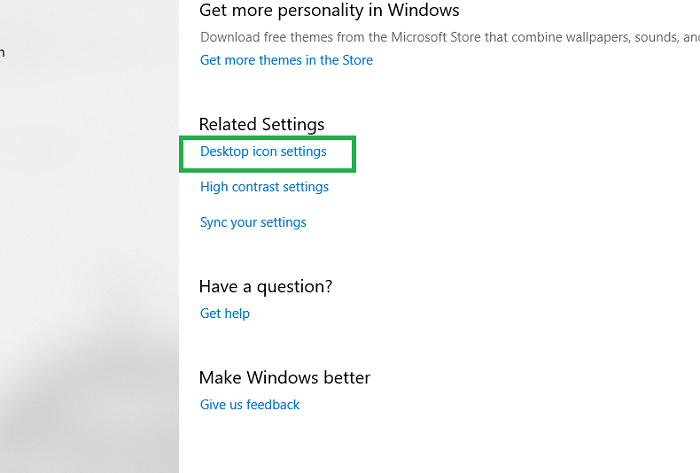 Desktop icon settings in Windows 10