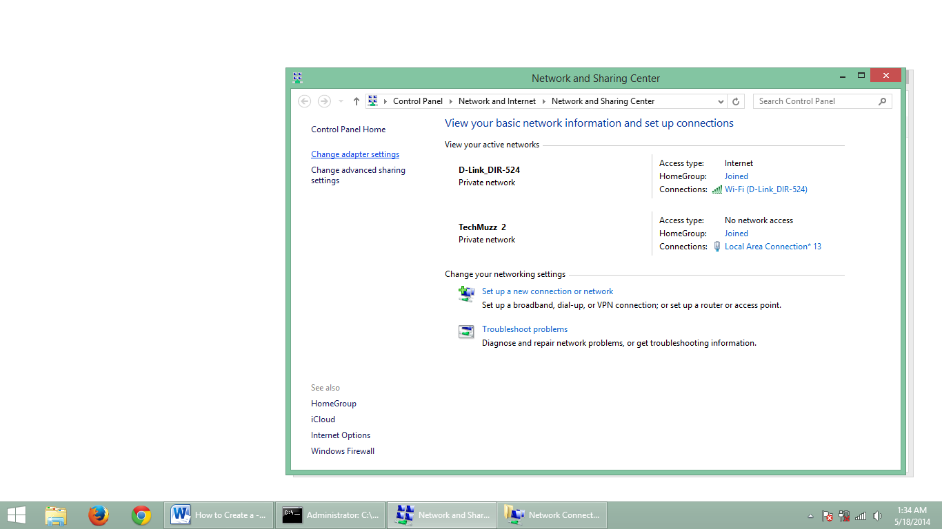 step 5 how to create adhoc network in windows 8.1
