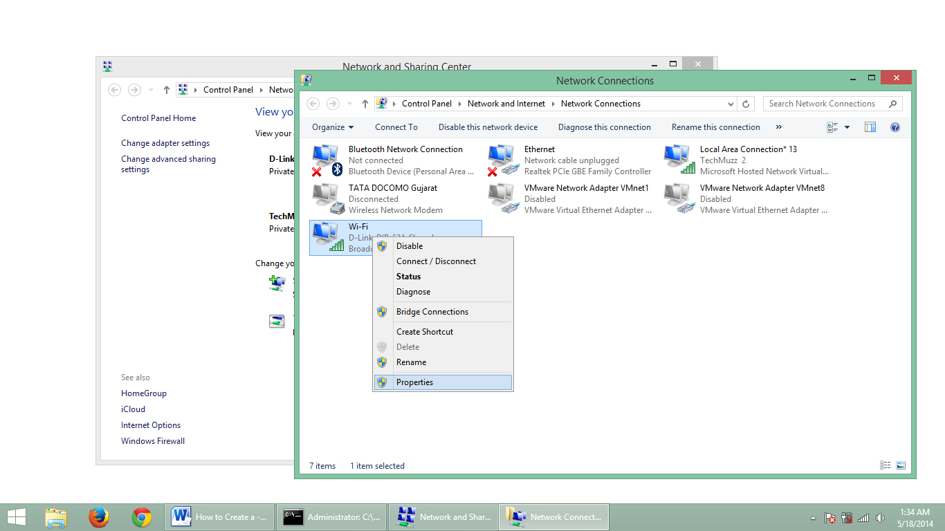 step 5.1 how to create adhoc network in windows 8.1