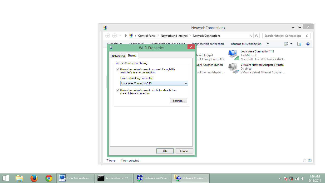 step 5.2 how to create adhoc network in windows 8.1