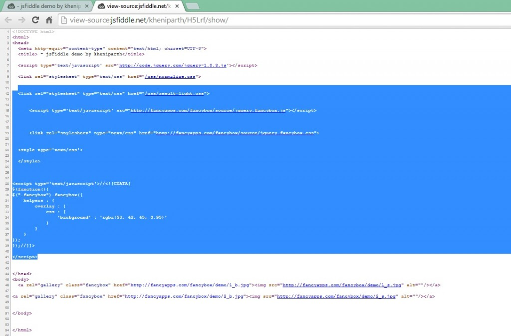 Get The Raw Source Code From JSFiddle In One Go