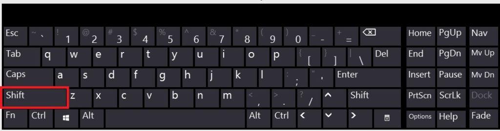 hold shift key