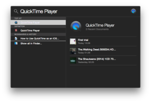 QuickTime in Spotlight Search