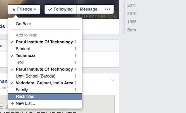 Restricted list in facebook