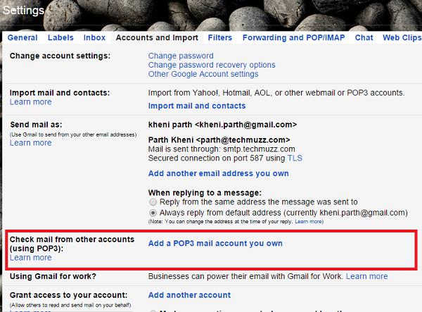 add pop3 account in gmail