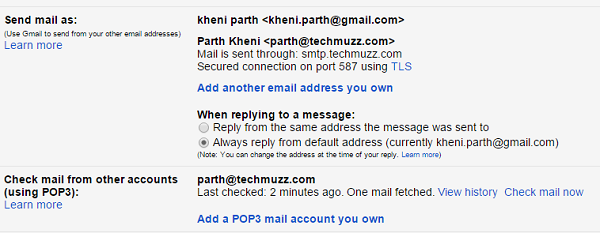 custom email address is added