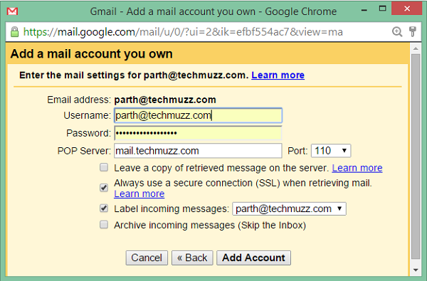 custom email and password