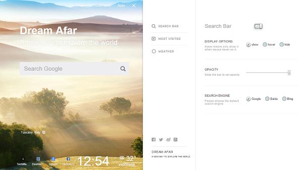 dream afar new tab settings