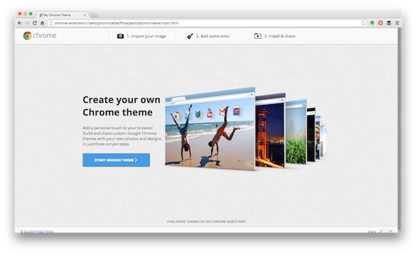 first step in making chrome theme
