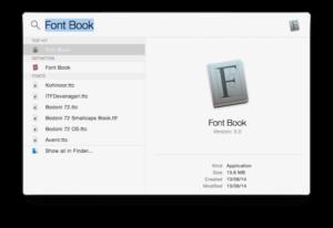 fontbook in spotlight search