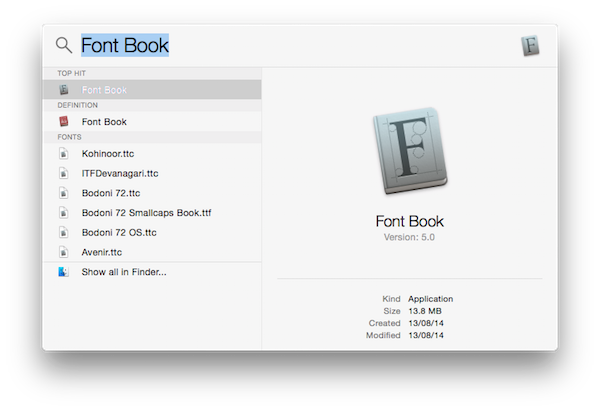 fontbook in spotlight search