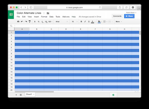 google sheet with zebra stripes