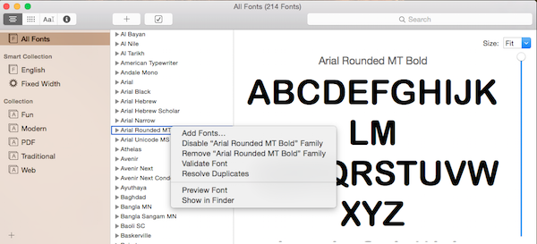remove font family from font book in mac