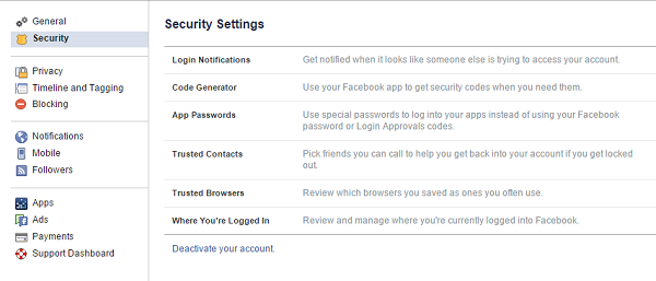 security tab in facebook settings