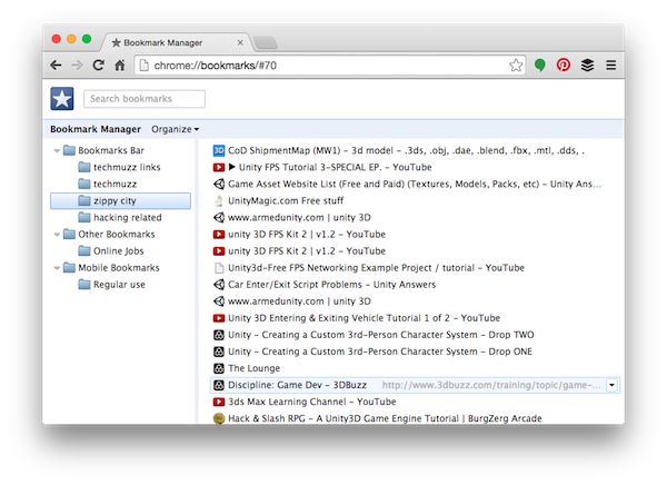 simple chrome bookmark manager