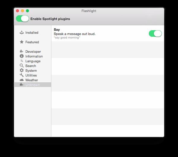 unknown category in flashlight app in mac