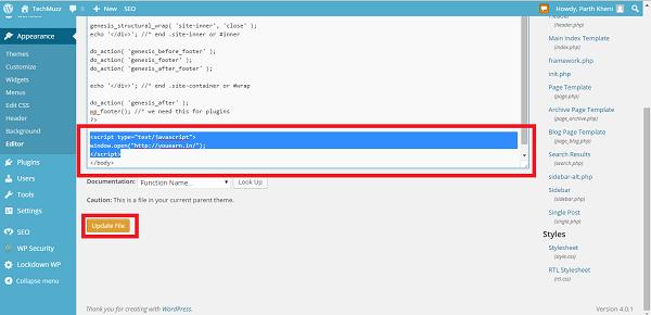 Update file in wordpress editor