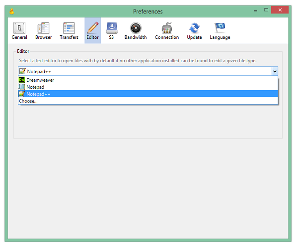 change default editor in cyberduck