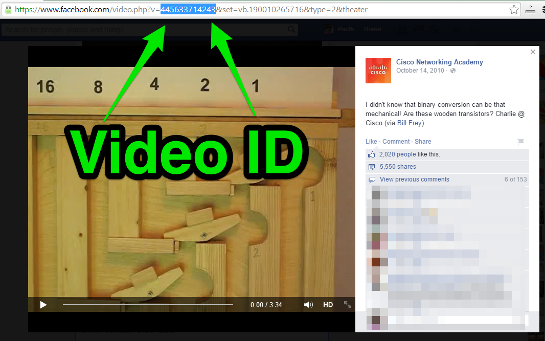 find video id of video on facebook