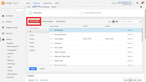 new segment in google analytics