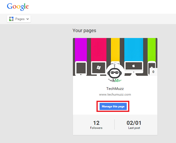 Manage this page in Google+