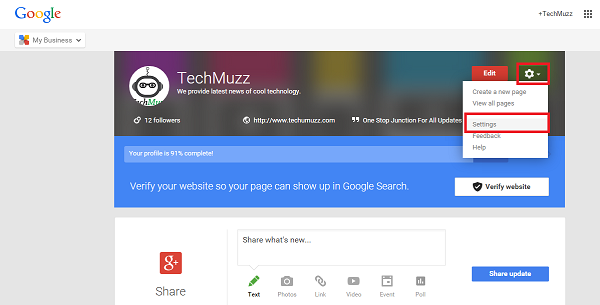 Setting option for Google+ page