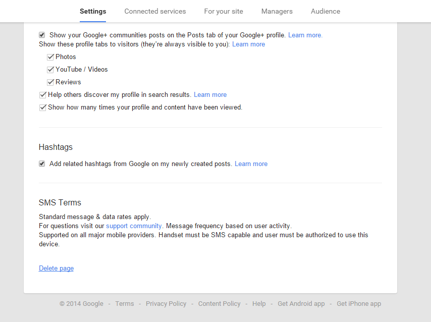 Delete page option