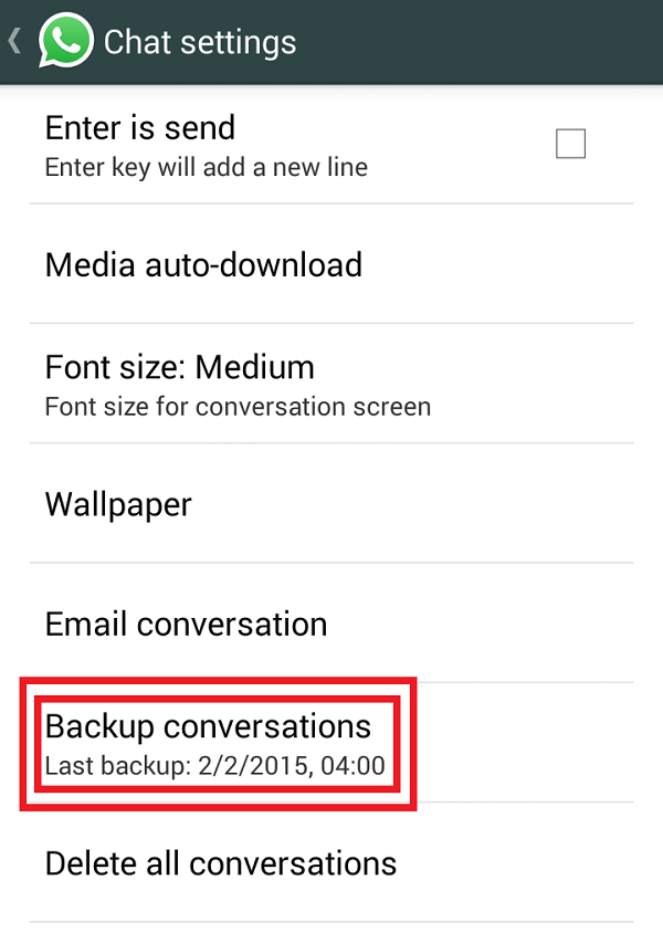 Back up WhatsApp messages