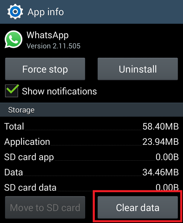Clear WhatsApp App data