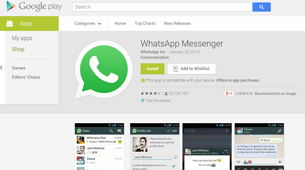Whatsapp on Playstore