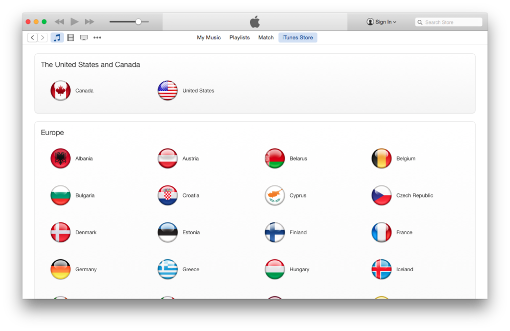 select country in iTunes
