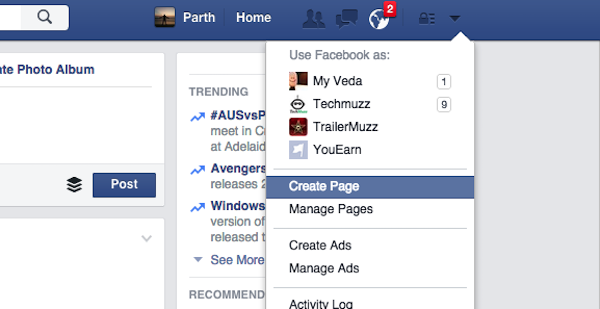 create a new page in facebook