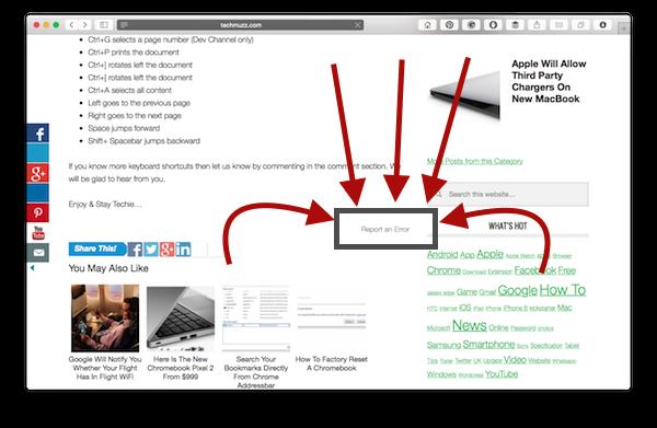 report an error link text on TechMuzz post