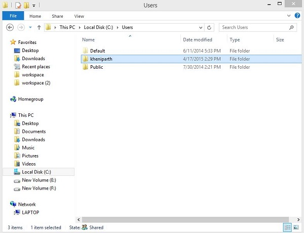select and open the user folder from the list
