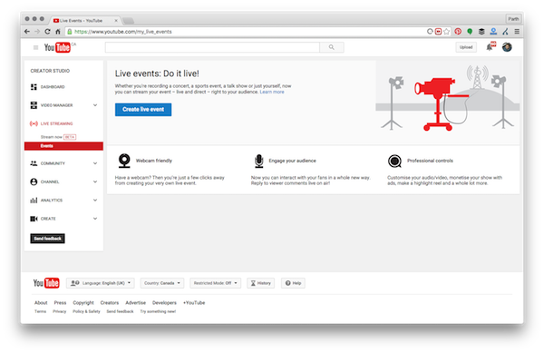 Youtube create Event window