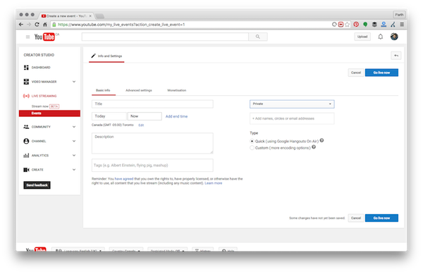 Go live button youtube create event window