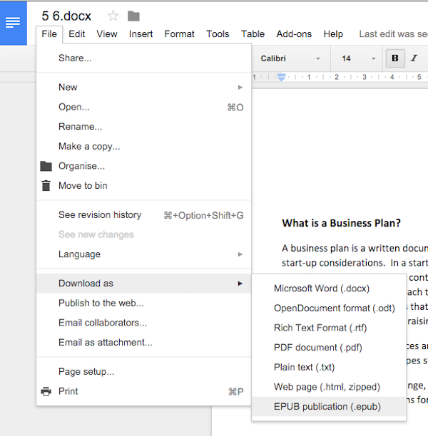 how to create ePUB eBook with google docs