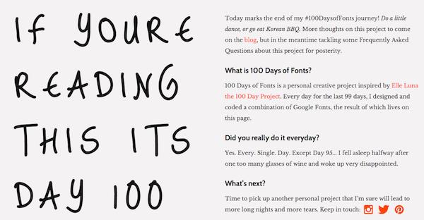 100daysoffonts.com example