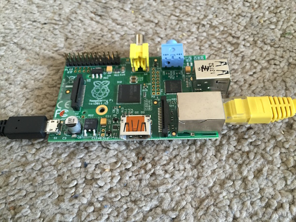 Raspberry Pi with Ethernet cable
