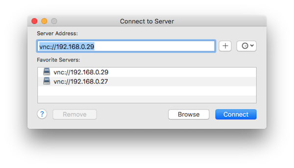 Connect to server in OS X