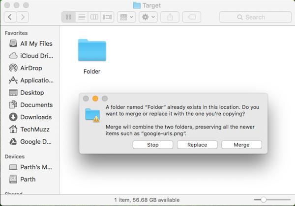 Merge pop up box in macOS