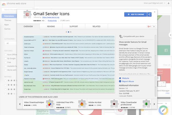 Google Sender Icon download page
