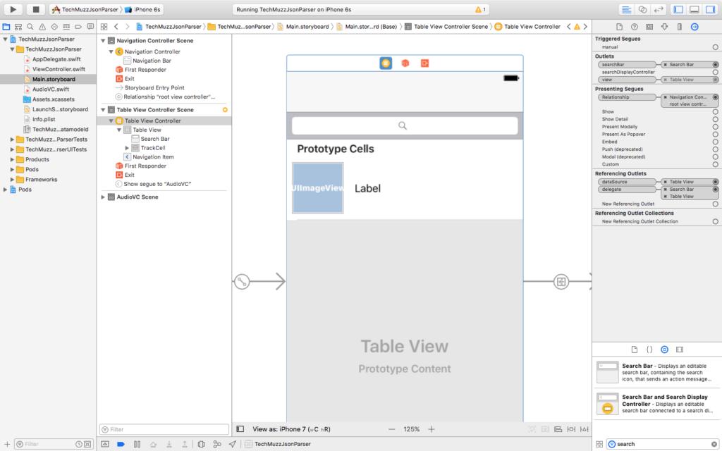 add searchbar to main storyboard xcode
