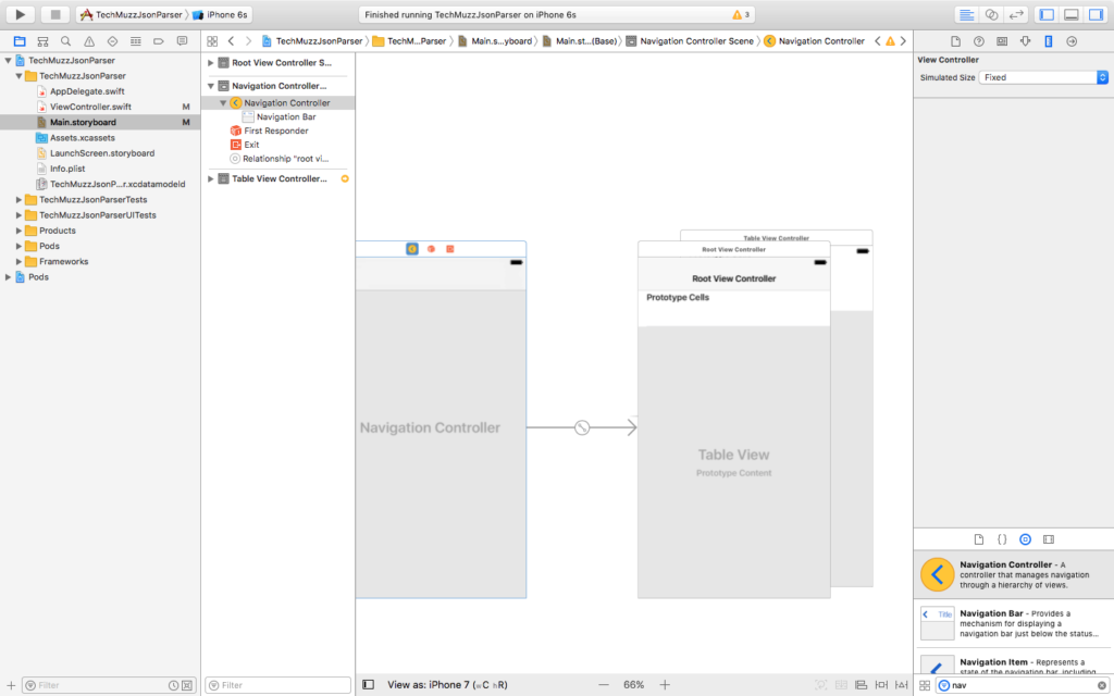 navigation controller in xcode