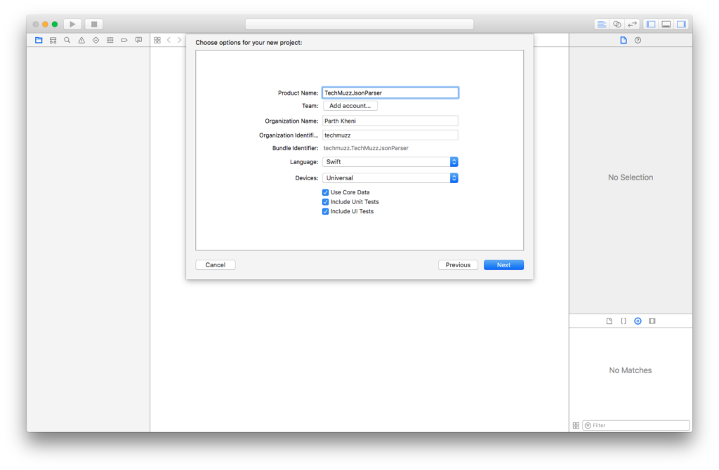 set name language and type in xcode