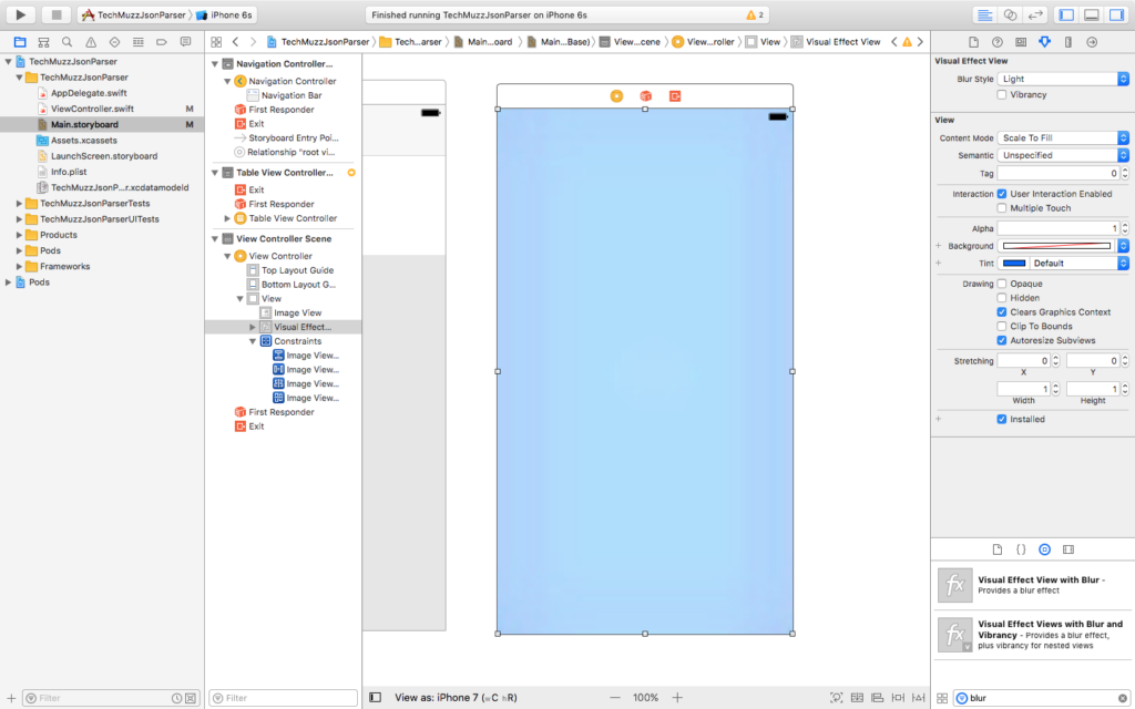 add visual effect view blur xcode