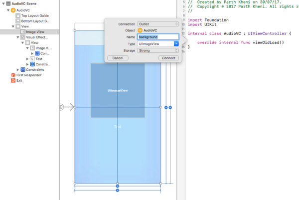 create outlets xcode