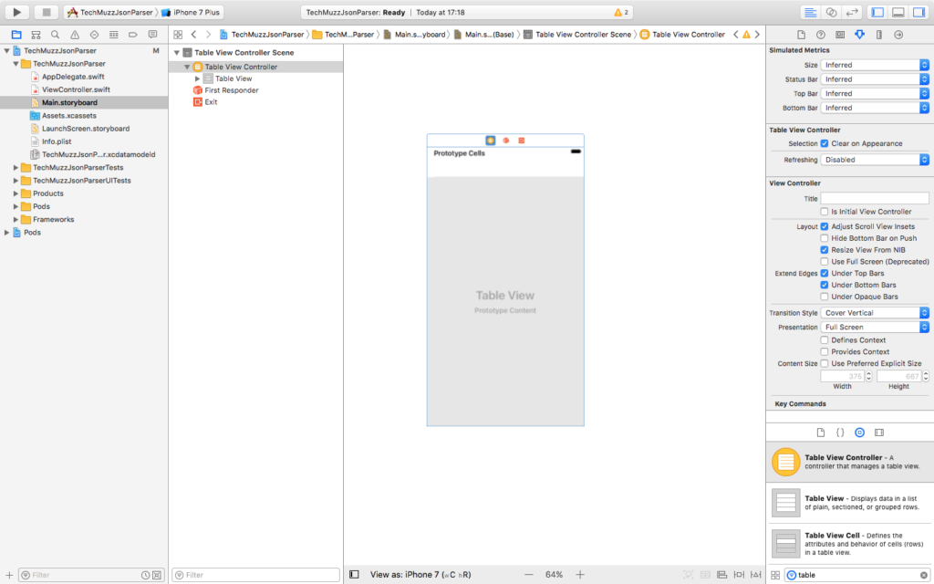 add table view into storyboard