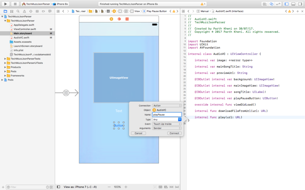 outlet and action of button in xcode