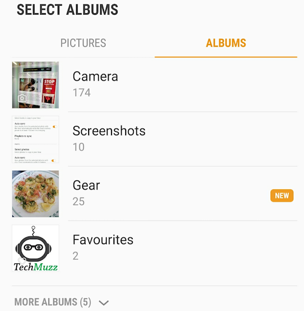 Select album in Gallery